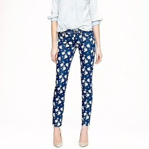 JCrew Cropped Matchstick Indigo Floral Blue Jeans